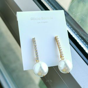 Alicia Bonnie dangle pearl drop earrings
